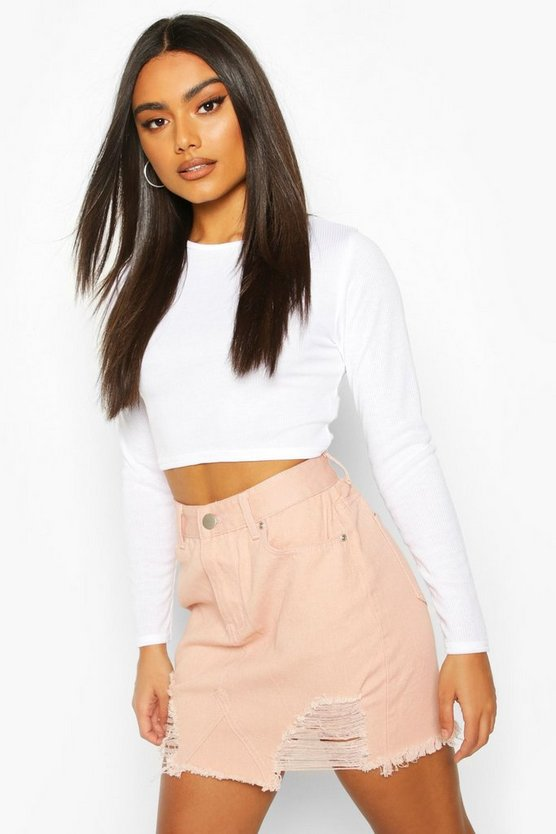 Nude High Waisted Distressed Denim Skirt