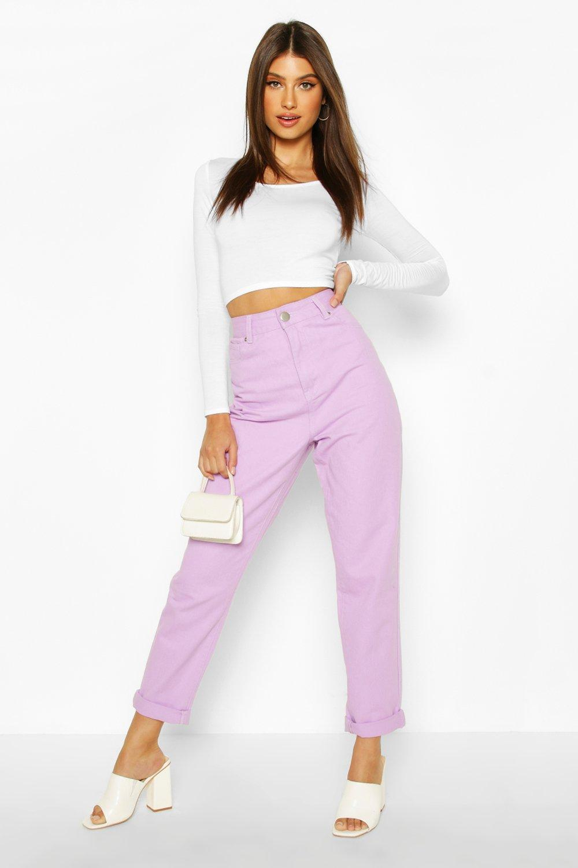 Vintage High Waisted Trousers, Sailor Pants, Jeans Womens High Rise Mom Jean - Purple - 12 $10.00 AT vintagedancer.com