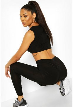 Black Soft Touch Ruched Bum Booty Boost Gym Legging
