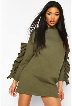 Khaki Ruffle Sleeve Sweatshirt Dress