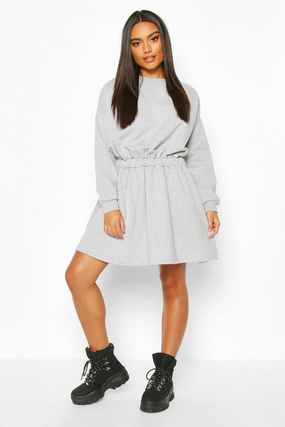 Grey marl Elasticated Waist Smock Sweatshirt Dress