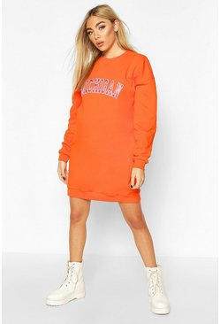 Orange Embroidered State Oversized Sweatshirt Dress