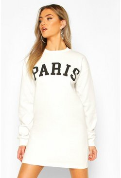Ecru Paris Slogan Chest Print Sweatshirt Dress