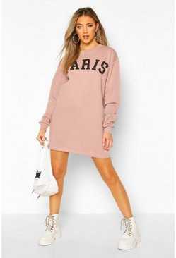 Mocha Paris Slogan Chest Print Sweatshirt Dress