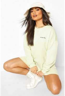 Sage Acid Wash Embroided Sweatshirt Dress