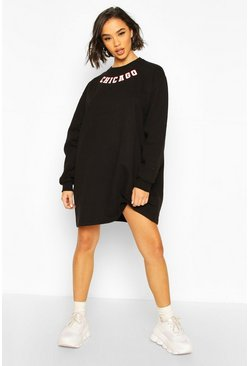 Black Slogan Neckline Sweatshirt Dress