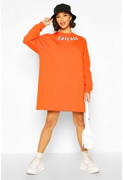 Orange Slogan Neckline Sweatshirt Dress