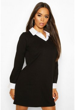 Black Layered Look Shirt Sweatshirt Dress