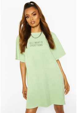 Sage Tonal Slogan Oversizes T-Shirt Dress