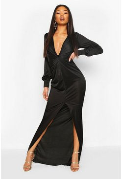 Black Twist Front Plunge Slinky Maxi Dress