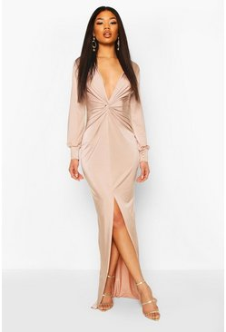 Stone Twist Front Plunge Slinky Maxi Dress