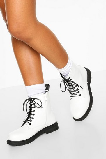 White Lace Up Hiker Boots