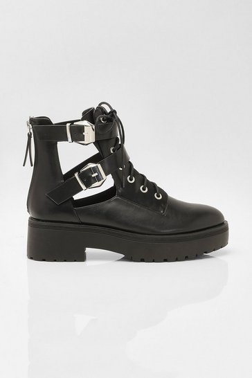 Black Chunky Cut Out Hiker Boots