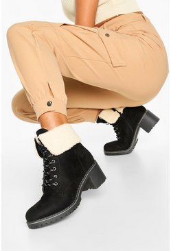 Black Shearling Cuff Chunky Hiker Boots