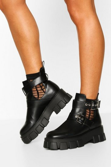 Black Cutwork Buckle Detail Chunky Chelsea Boots