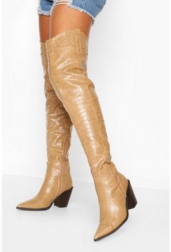 Beige Over The Knee Croc Western Boots