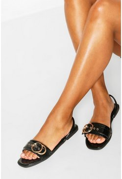 Black Wide Width Buckle Trim Sling Back Sandals