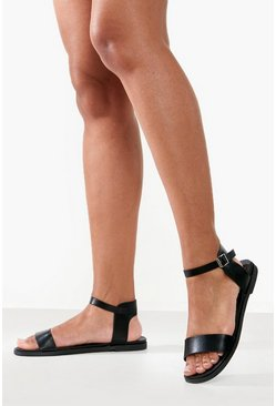 Black Wide Fit Buckle Detail 2 Part Sandals