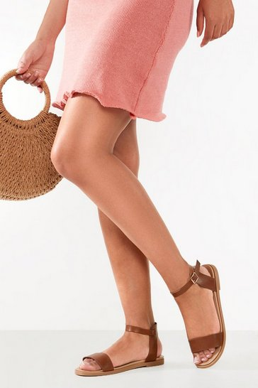 Tan Wide Fit Buckle Detail 2 Part Sandals