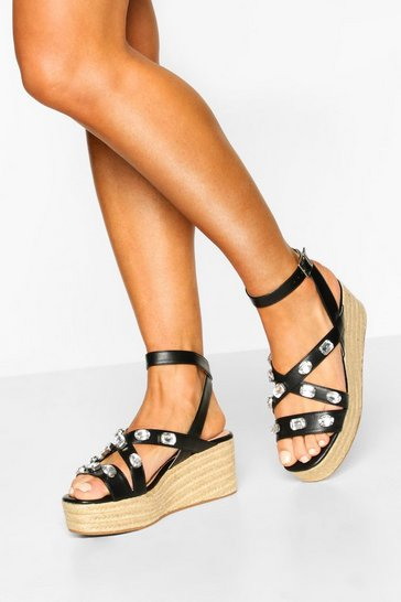 Black Embellished Cross Strap Espadrille Wedges