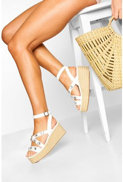 Zeppe espadrillas con fascette incrociate decorate, Bianco