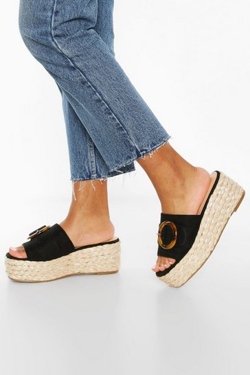 Black Tort Buckle Espadrille Wedges