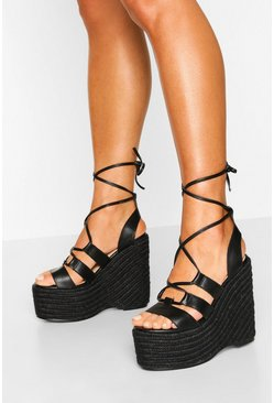 Black Wrap Up Espadrille Platform Wedges
