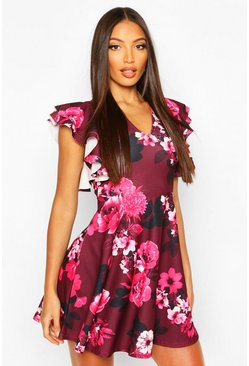 Pink Floral Flutter Sleeve Skater Dress