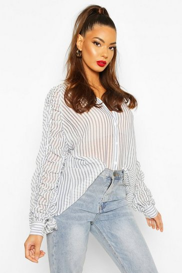 Blue Ruffle Ruched Sleeve Woven Shirt