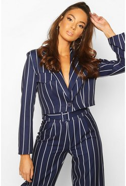 Cropped Power Shoulder Pinstripe Blazer , Navy