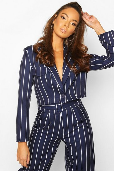 Navy Cropped Power Shoulder Pinstripe Blazer