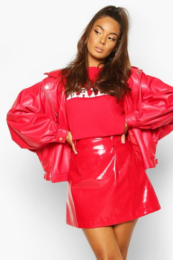 Red Oversized PU 80's Jacket