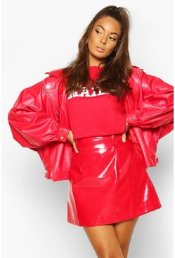 Oversized PU 80's Jacket , Red
