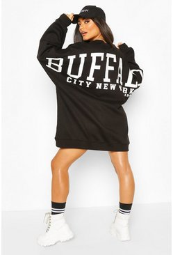 Black Back Slogan Print Oversized Sweatshirt Dress