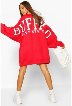Red Back Slogan Print Oversized Sweatshirt Dress