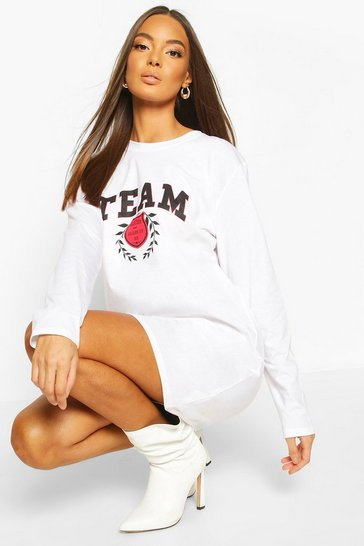 White Long Sleeve Team Slogan T-Shirt Dress