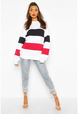 White Colour Block Stripe Oversized Sweatshirt