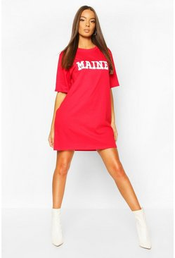 Red Maine Slogan Short Sleeve T-Shirt Dress