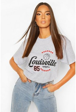 Grey marl Louisville Printed T-Shirt