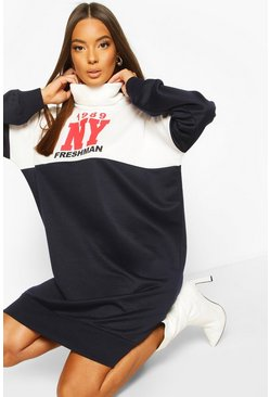 Navy Roll Neck Colour Block Slogan Sweatshirt Dress