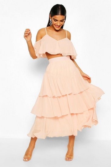 Blush Chiffon Shoulder Top And Ruffle Midi Skirt Co-ord