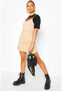 Black Graphic 2 In 1 Rib T-Shirt Slip Dress