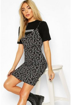 Black Printed Tee & Floral Slip Dress