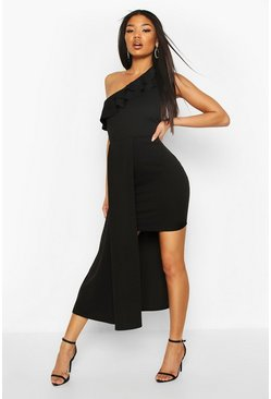 Black Ruffle Detail Drape Mini Dress