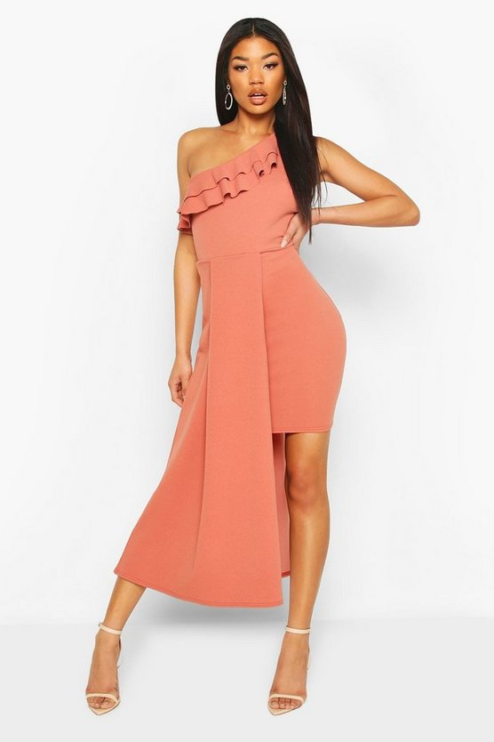 Rose Ruffle Detail Drape Mini Dress