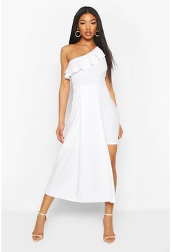 White Ruffle Detail Drape Mini Dress
