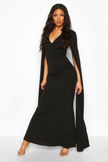 Black Cape Sleeve Fishtail Maxi Dress