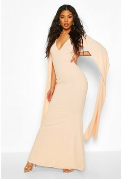 Blush Cape Sleeve Fishtail Maxi Dress