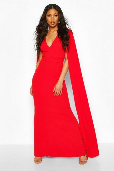 Red Cape Sleeve Fishtail Maxi Dress