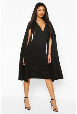 Black Cape Sleeve Open Back Midi Dress